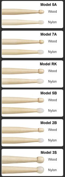 Drumstick Sizes Explained Drum Stick Size Chart Guide 5a 7a 2b S